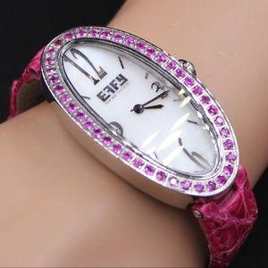 Pink Sapphire Diamond 1.90 Tcw Unisex Luxury Watch